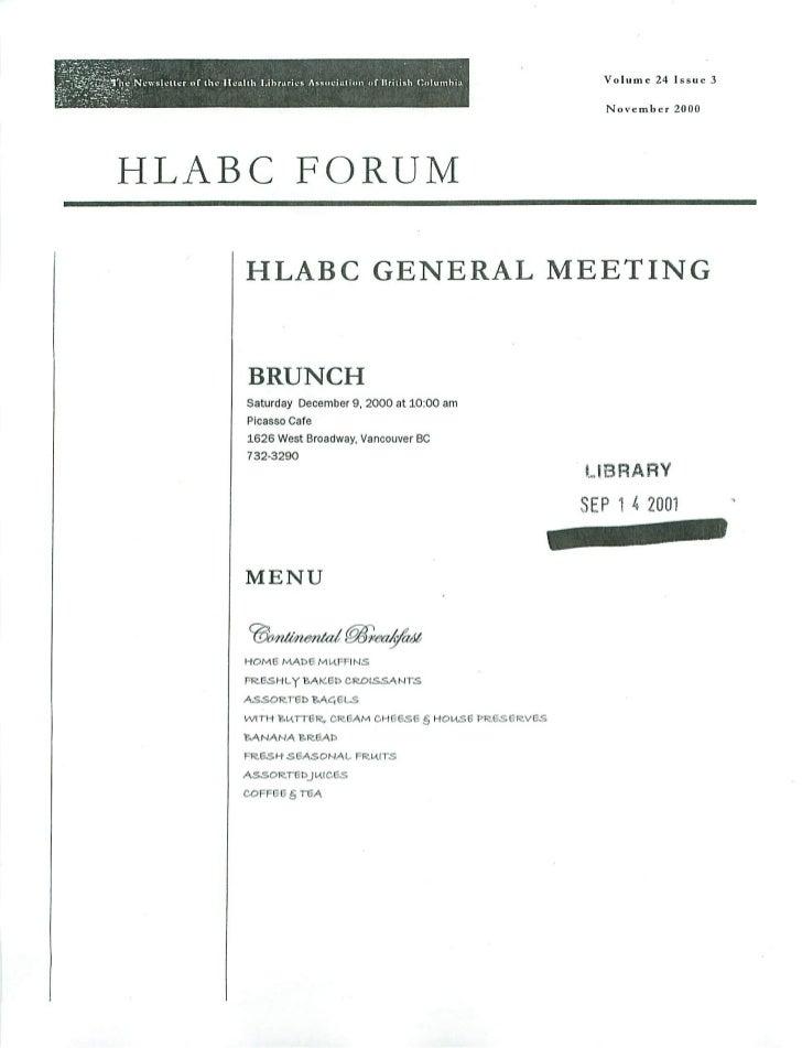 HLABC Forum: November 2000