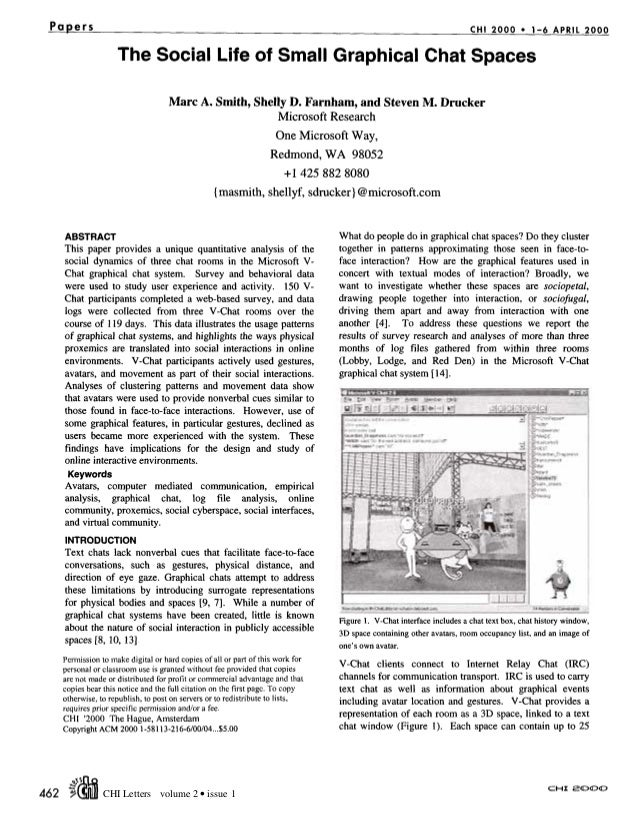 Papers CHI 2000 • 1-6 APRIL 2000 The Social Life of Small Graphical Chat Spaces Marc A. Smith, Shelly D. Farnham, and Stev...