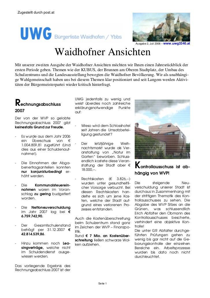 Zugestellt durch post.at                                                                            Ausgabe 2, Juli 2008 –...