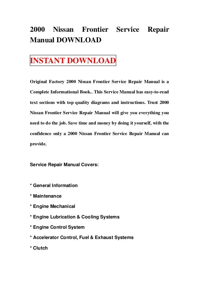2000 nissan frontier service repair manual download