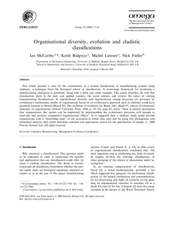 Organisational diversity, evolution and cladistics classifications