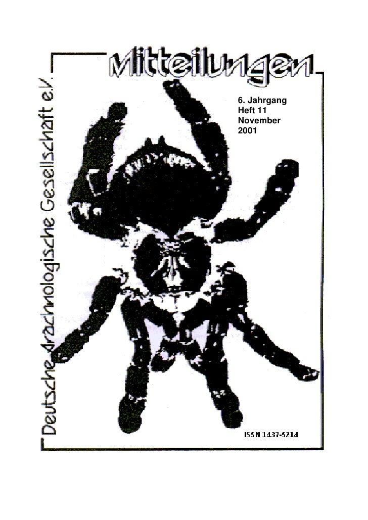 6. Jahrgang Heft 11 November 2001