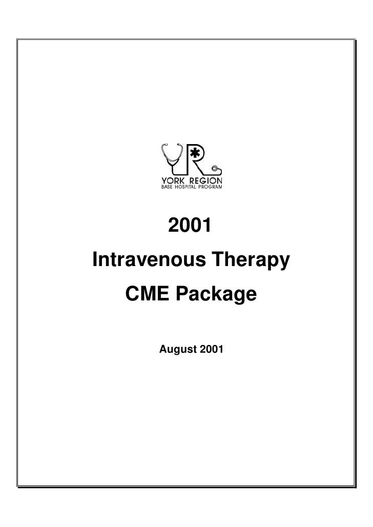 2001 Intravenous Therapy    CME Package        August 2001