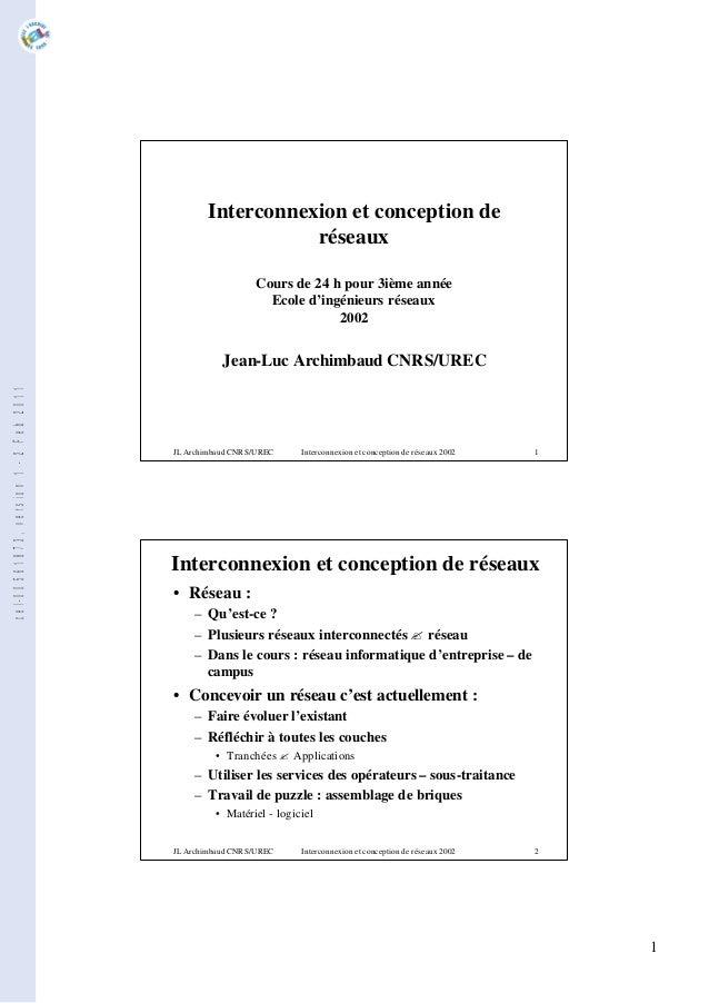 1 JL Archimbaud CNRS/UREC Interconnexion et conception de réseaux 2002 1 Interconnexion et conception de réseaux Cours de ...