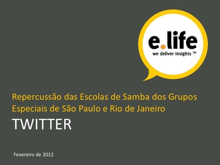 Repercussão das Escolas de Samba dos GruposEspeciais de São Paulo e Rio de JaneiroTWITTERFevereiro de 2012
