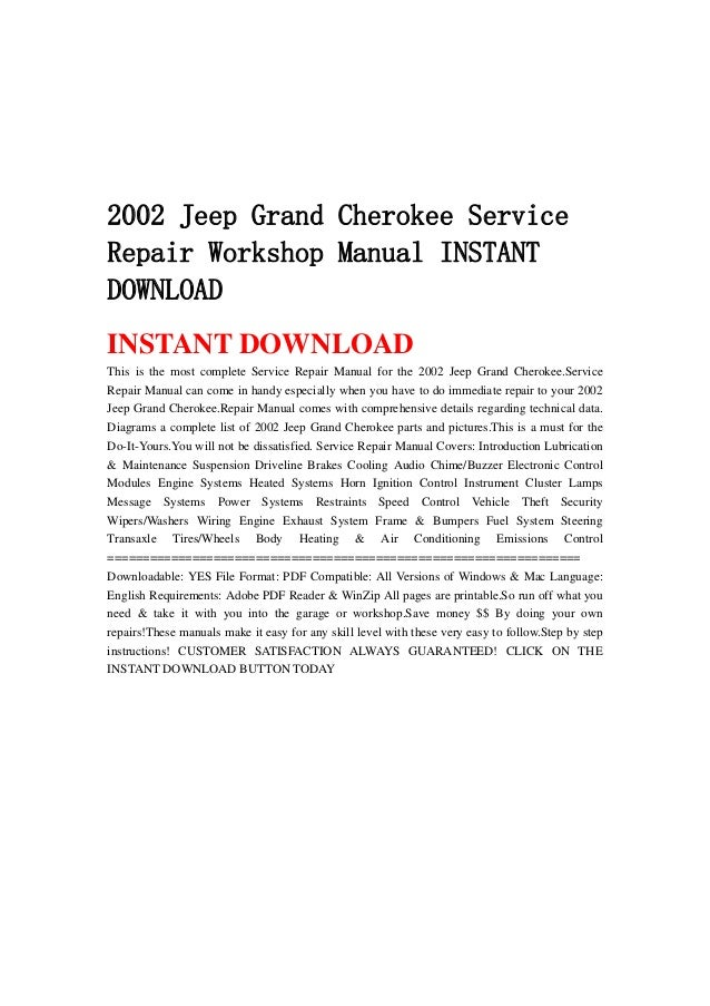 2002 jeep grand cherokee service repair workshop manual. Black Bedroom Furniture Sets. Home Design Ideas