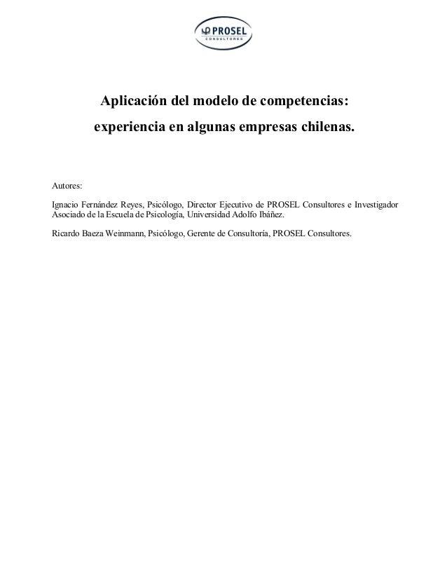 Fernández y Baeza (2002). Aplicación del modelo de competencias: experiencia en algunas empresas chilenas.