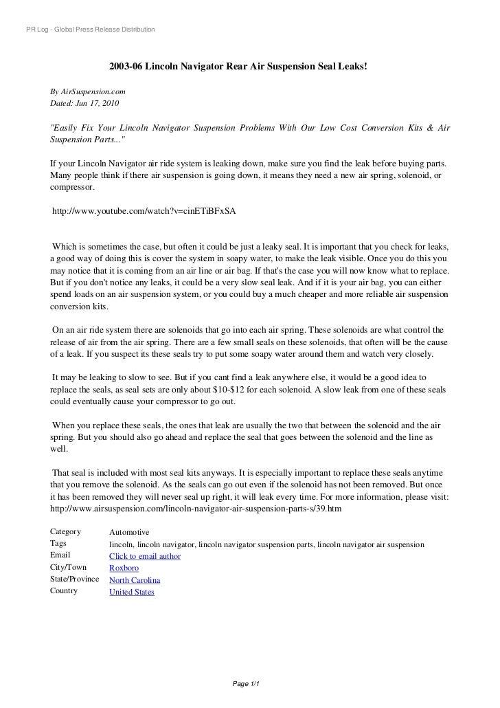 PR Log - Global Press Release Distribution                          2003-06 Lincoln Navigator Rear Air Suspension Seal Lea...