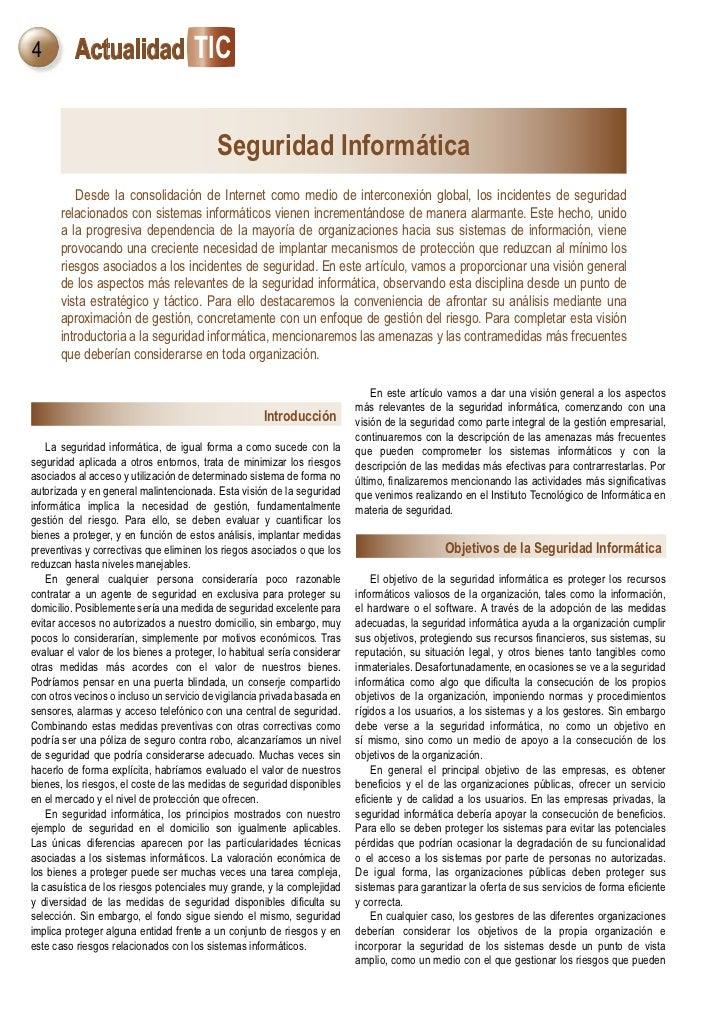 4         Actualidad TIC                                          Seguridad Informática          Desde la consolidación de...