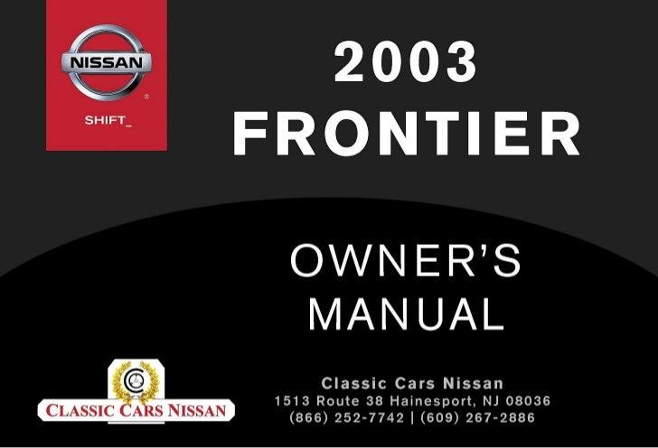 2003 FRONTIER OWNER'S MANUAL