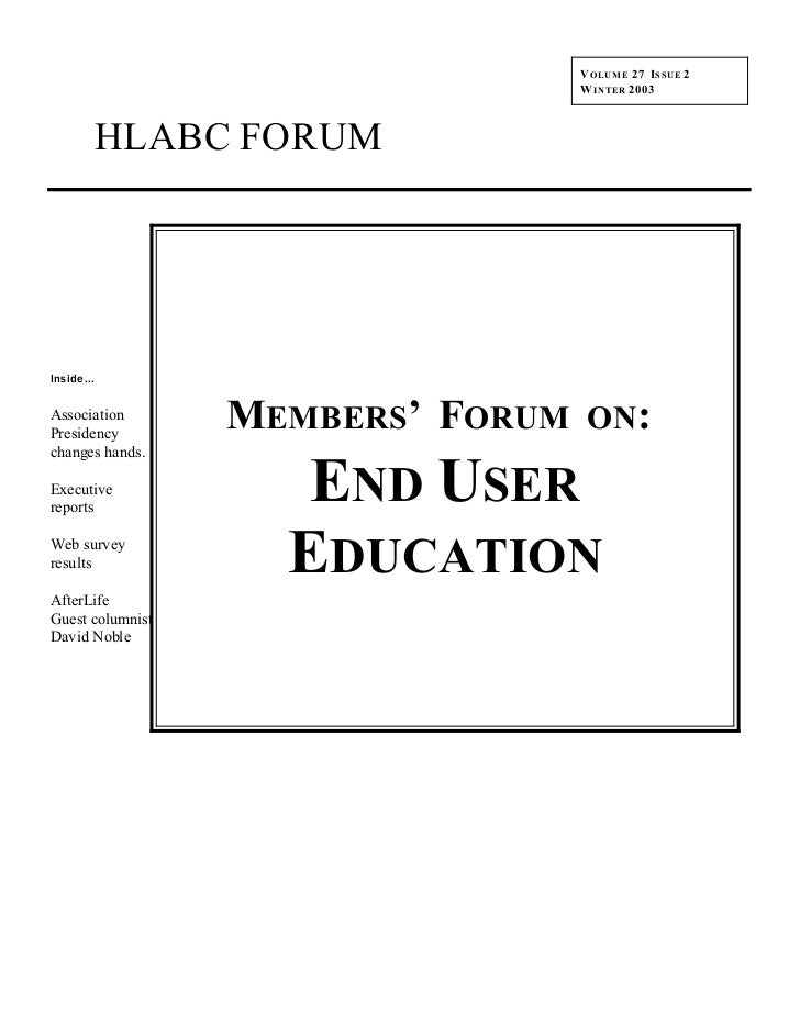 HLABC Forum: Winter 2003