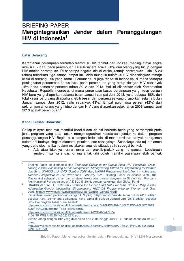 Briefing Paper: Mengintegrasikan Jender dalam Penanggulangan HIV di Indonesia - LBH Masyarakat