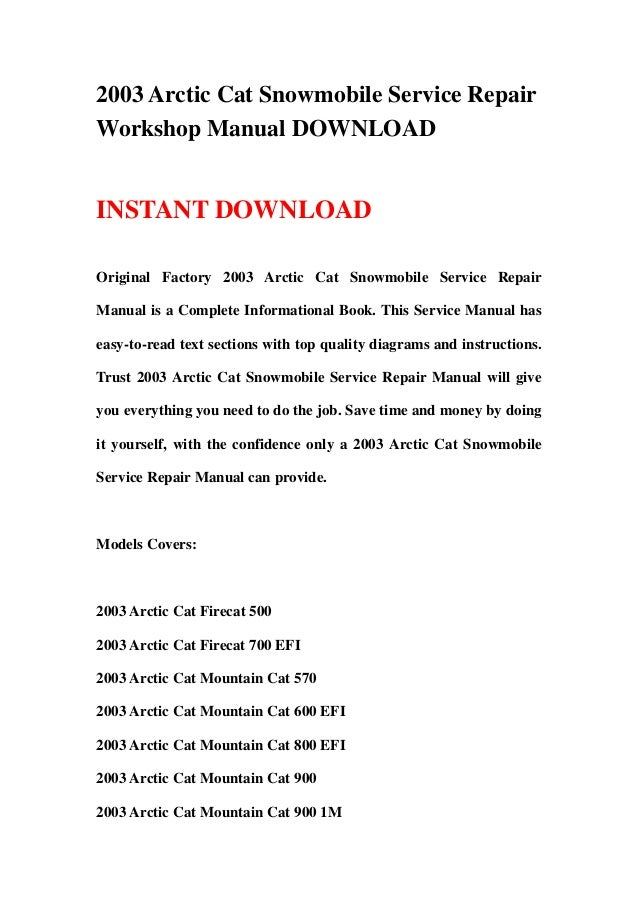 2003 arctic cat snowmobile service repair workshop manual download