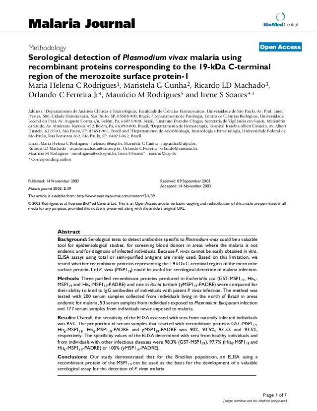 2003 malária e diagnóstico sorológico msp119