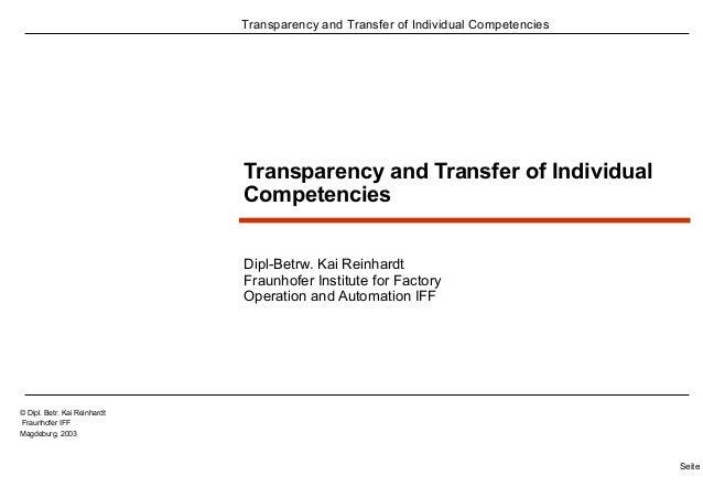 Transparency and Transfer of Individual Competencies  Seite 1  © Dipl. Betr. Kai Reinhardt  Fraunhofer IFF  Magdeburg, 200...