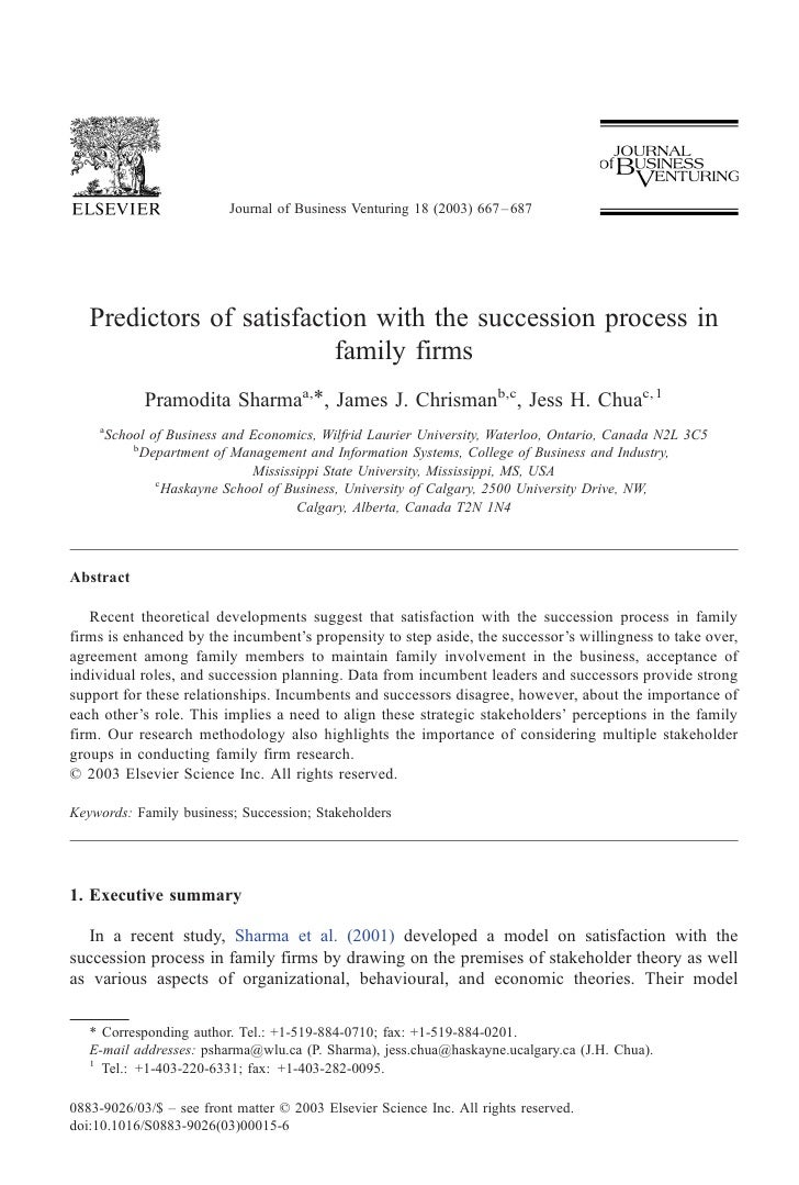 Journal of Business Venturing 18 (2003) 667 – 687   Predictors of satisfaction with the succession process in             ...