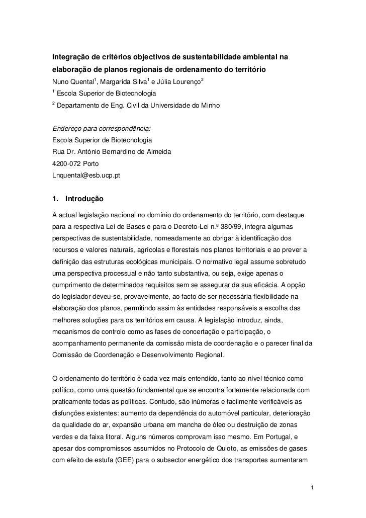 Integração de critérios objectivos de sustentabilidade ambiental naelaboração de planos regionais de ordenamento do territ...