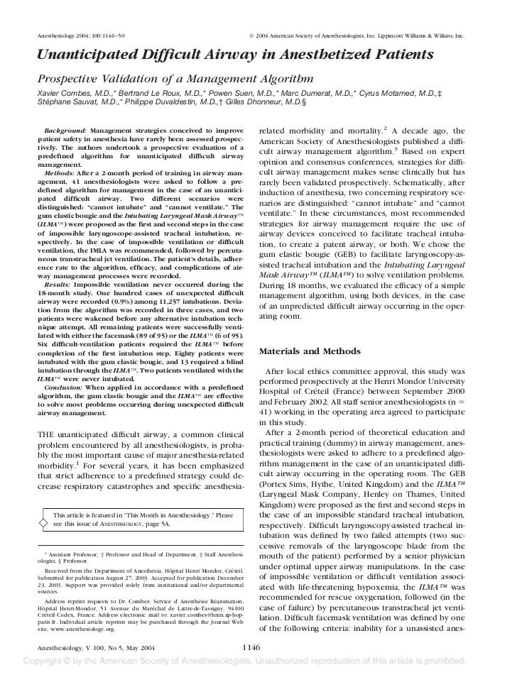 Anesthesiology 2004; 100:1146 –50                                                  © 2004 American Society of Anesthesiolo...