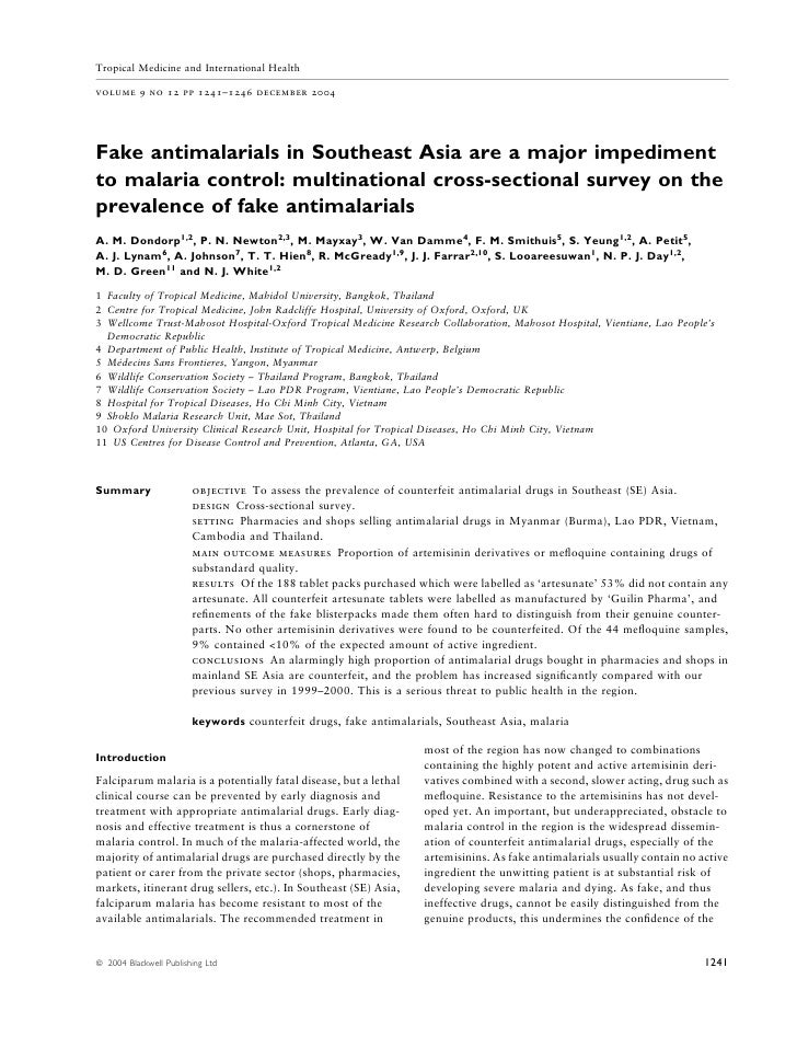 Tropical Medicine and International Health  volume 9 no 12 pp 1241–1246 december 2004     Fake antimalarials in Southeast ...