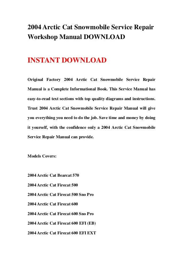 2004 arctic cat snowmobile service repair workshop manual download