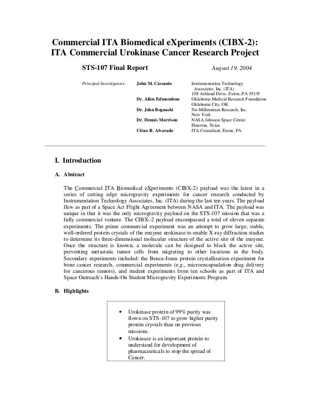 2004 cibx 2 cancer research project sts-107 final report