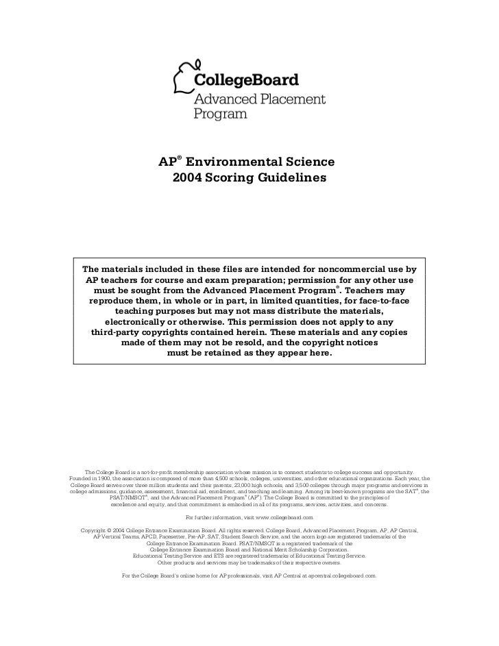 AP® Environmental Science                                     2004 Scoring Guidelines     The materials included in these ...