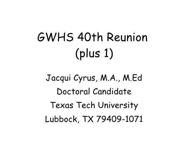 2004 GWHS Reunion