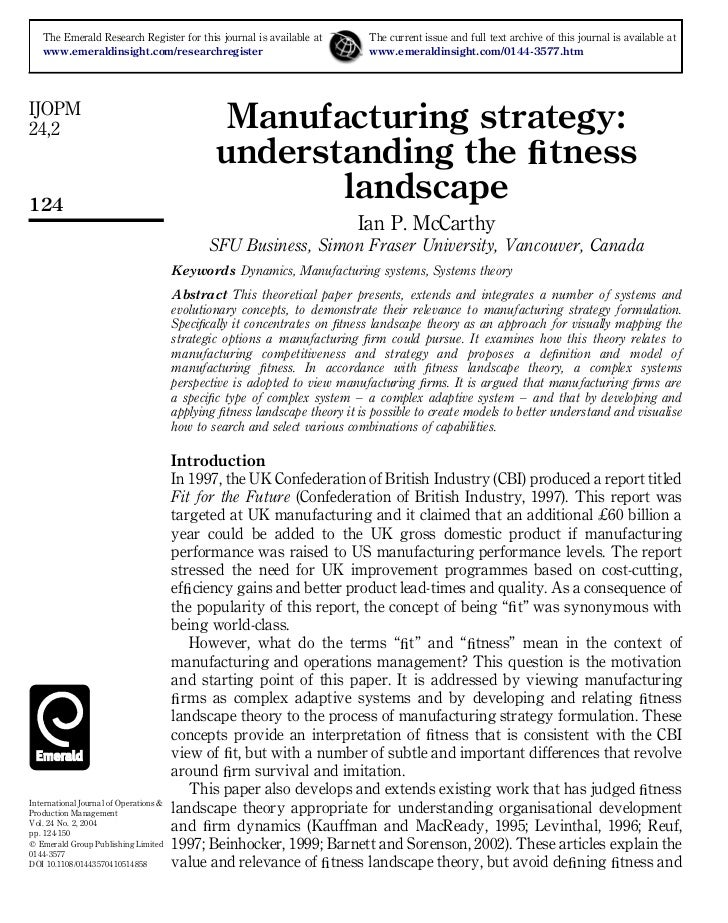 Manufacturing strategy – understanding the fitness landscape