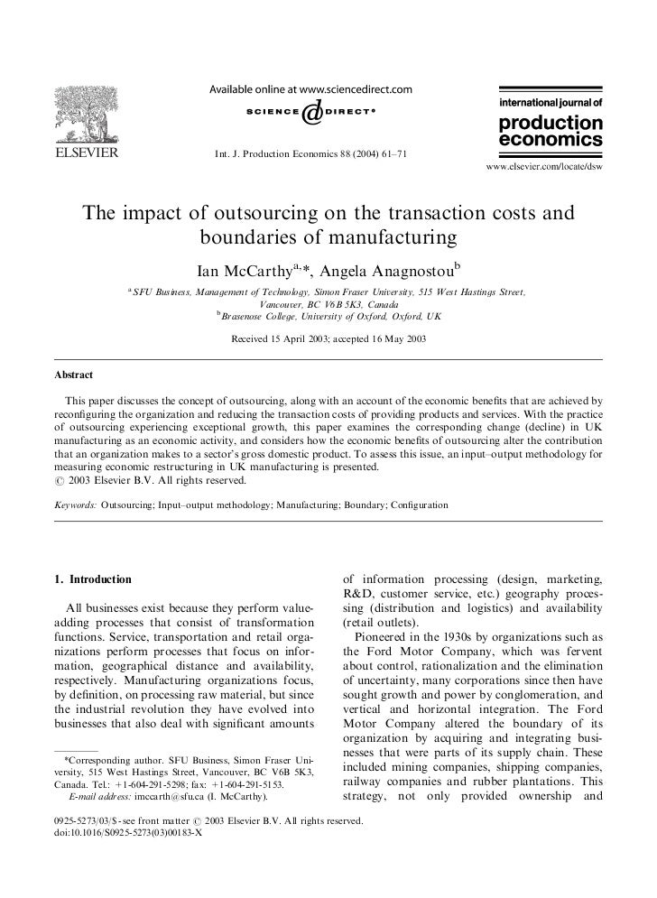 The impact of outsourcing on the transaction costs and boundaries of manufacturing