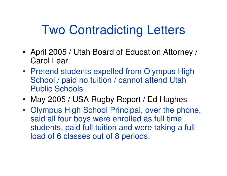 Two Contradicting Letters • April 2005 / Utah Board of Education Attorney /   Carol Lear • Pretend students expelled from ...