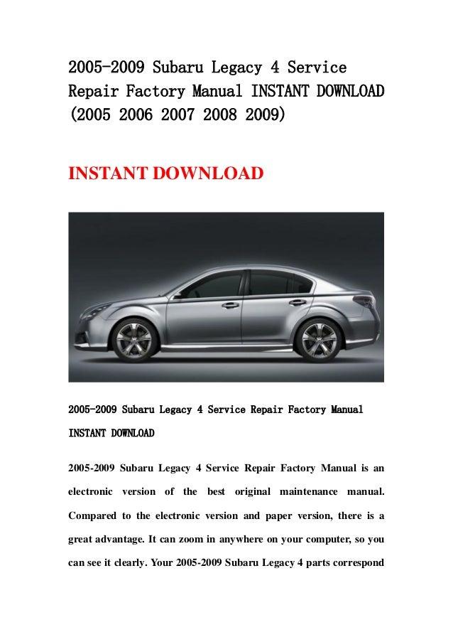 Subaru Legacy &Amp; Outback 2012 Service Manual Pdf