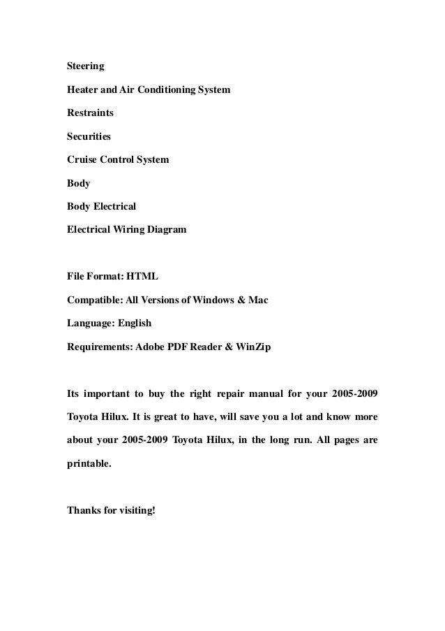 2005 2009 Toyota Hilux Service Repair Workshop Manual