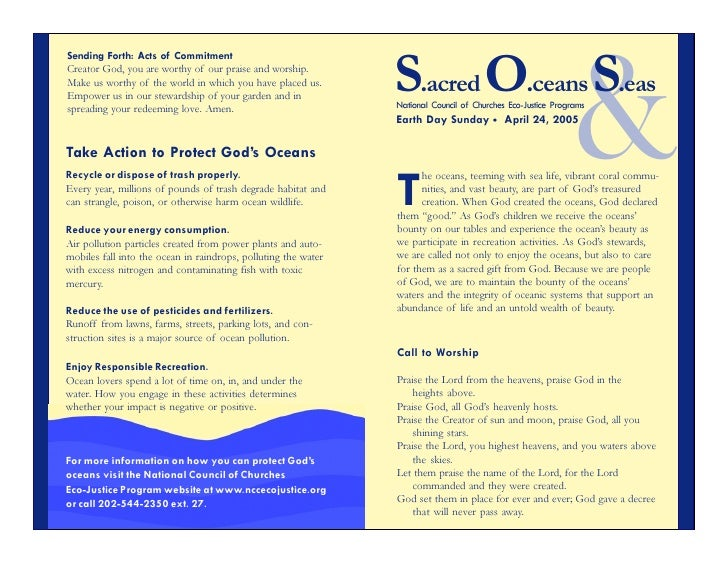 Sending Forth: Acts of Commitment                                                                S.acred O.ceans S.eas    ...