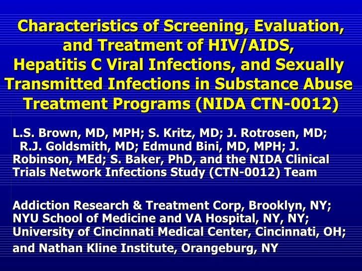 Characteristics of Screening, Evaluation, and Treatment of HIV/AIDS,  Hepatitis C Viral Infections, and Sexually  Transmit...