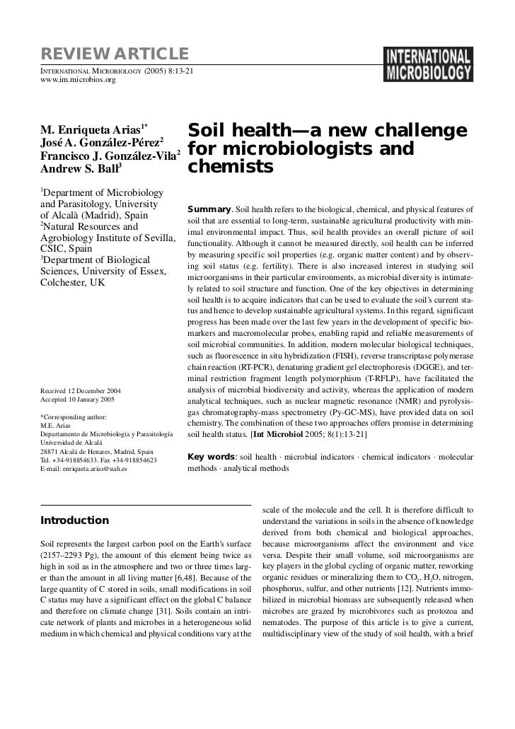 2005 enriqueta arias et al soil health a new challenge for microbiologist and chemist