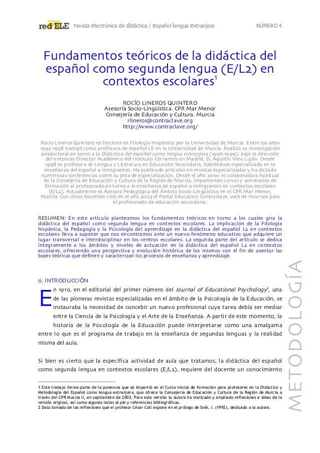 revista electrónica de didáctica / español lengua extranjera NÚMERO 4 Fundamentos teóricos de la didáctica del español com...