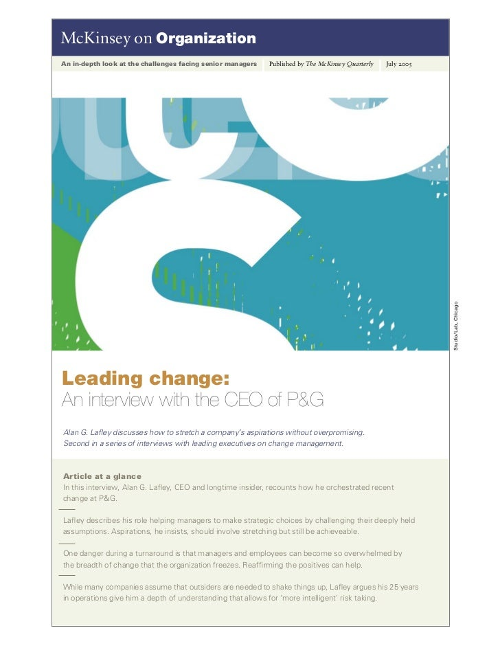 McKinsey on OrganizationAn in-depth look at the challenges facing senior managers   Published by The McKinsey Quarterly   ...