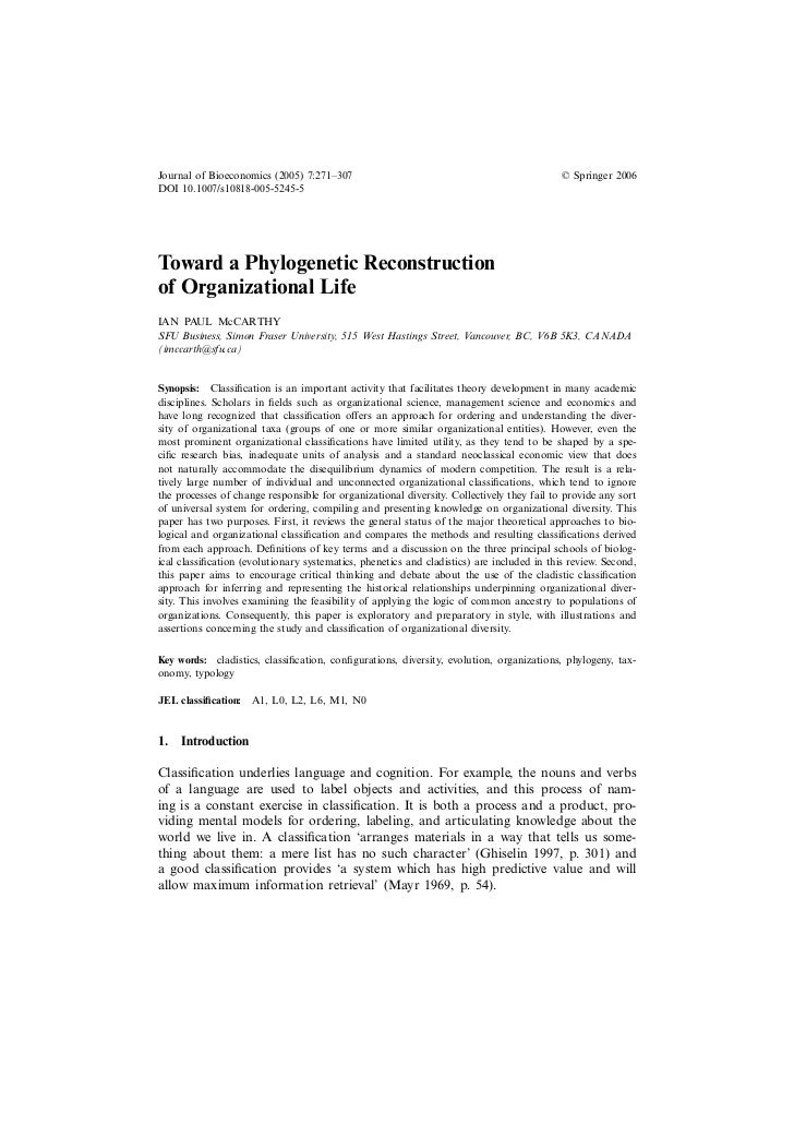 Toward a Phylogenetic Reconstruction of Organizational Life