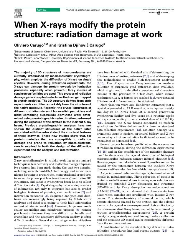 When X-rays modify the proteinstructure: radiation damage at workOliviero Carugo1,2and Kristina Djinovic´ Carugo31Departme...