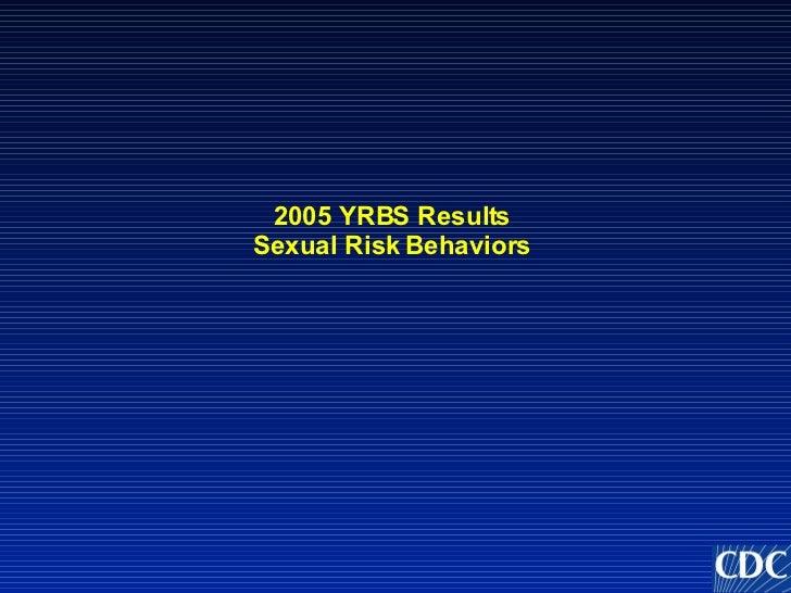 2005 YRBS Results Sexual Risk Behaviors
