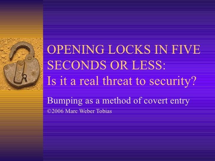Abrir Cerraduras en 5 segundos (English)