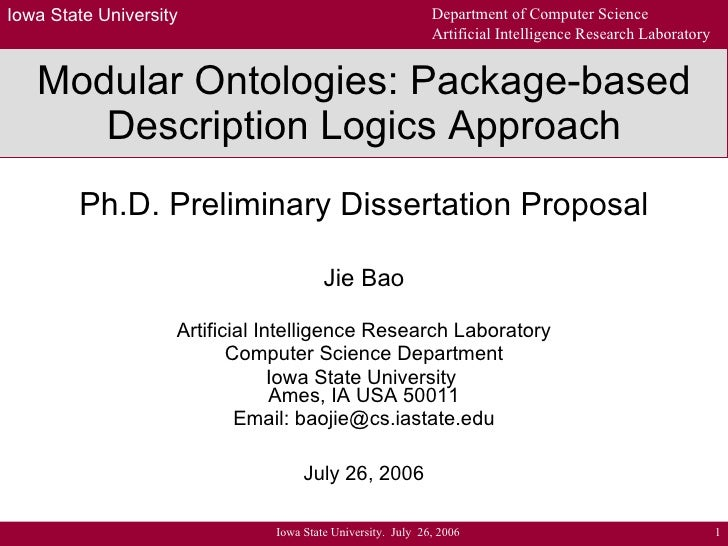 Modular Ontologies: Package-based Description Logics Approach Ph.D. Preliminary Dissertation Proposal Jie Bao Artificial I...