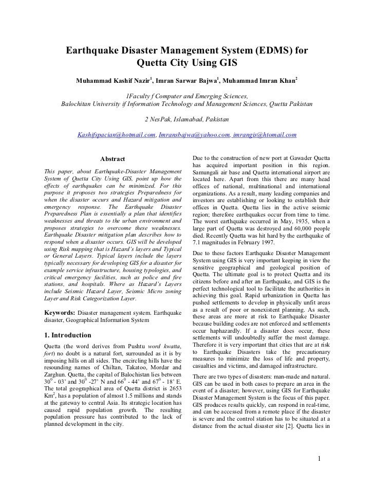 GIS for Quetta (ICAST 2006)