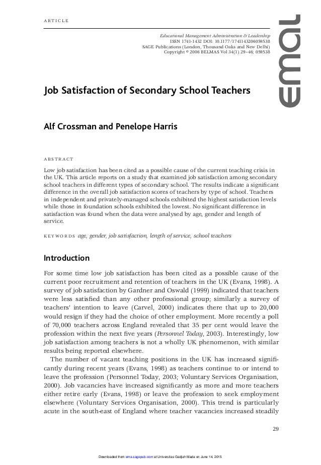 Dissertation research using job satisfaction survey jss
