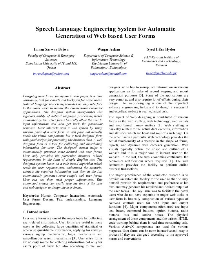 Web User Forms (ICOMMS 2006)