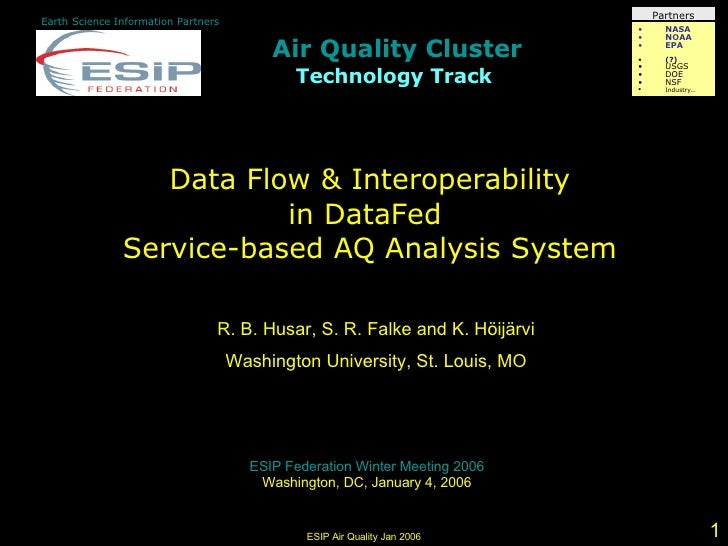 2006-01-11 Data Flow & Interoperability in DataFed Service-based AQ Analysis System
