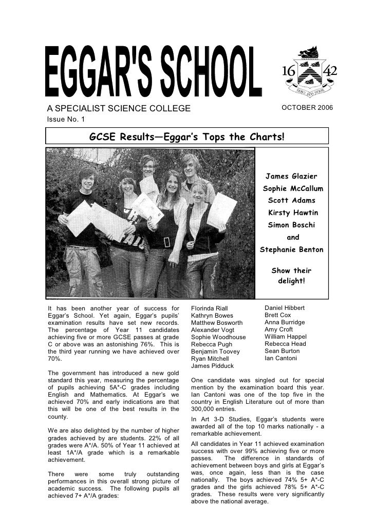 October 2006 School Newsletter