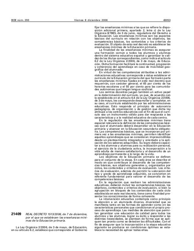 REAL DECRETO 1513/2006, de 7 de diciembre, por el que se establecen las enseñanzas mínimas de la Educación primaria