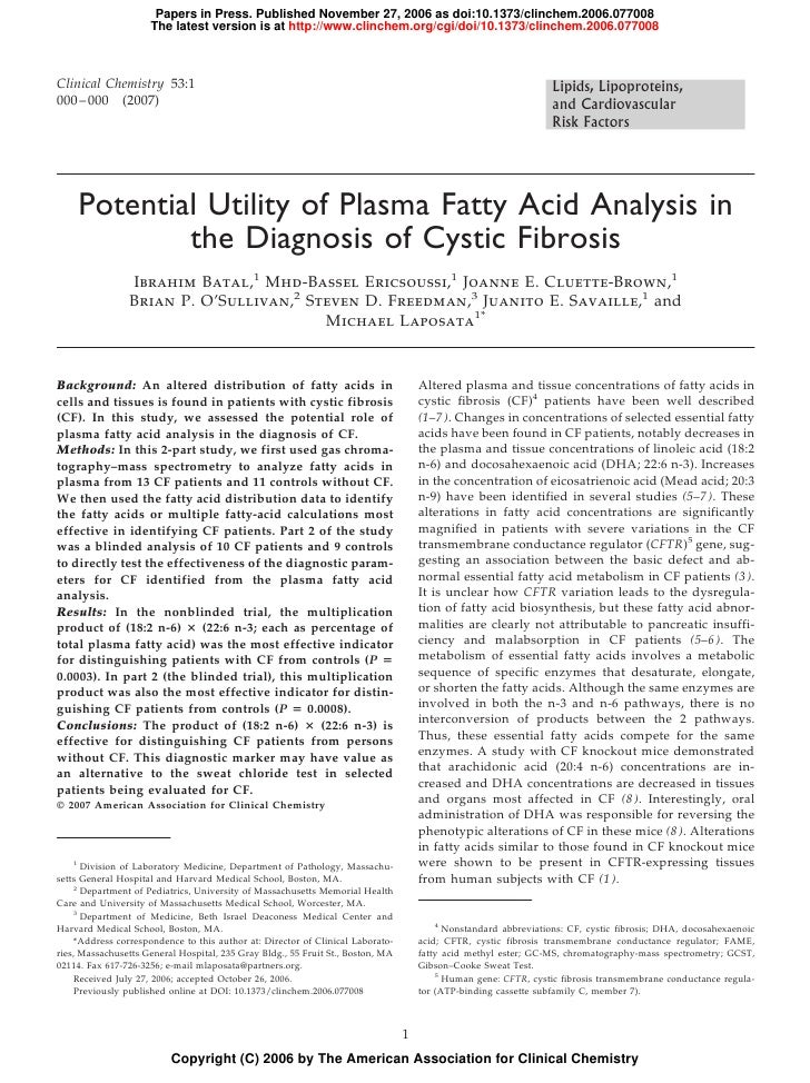 Potential Utility Of Plasma Fatty Acid[1]