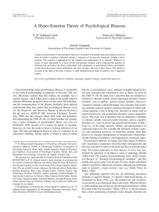 A Hyper-Emotion Theory of Psychological Illnesses P. N. Johnson-Laird Princeton University Francesco Mancini Associazione ...